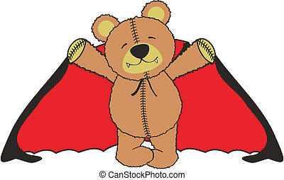 dracula teddy bear cartoon in vector format