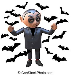 Dracula vampire Halloween horror character surrounded by bats, 3d illustration