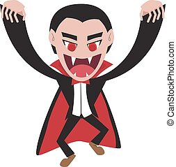Dracula with cape in flat style, vector character
