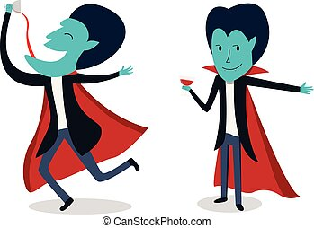 Dracula with glass of blood in vector cartoon