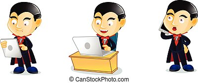 Dracula with laptop vector