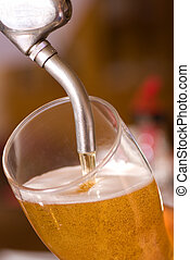 Draft beer - Serving a fresh draft lager from the tap