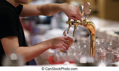 Draft beer pouring