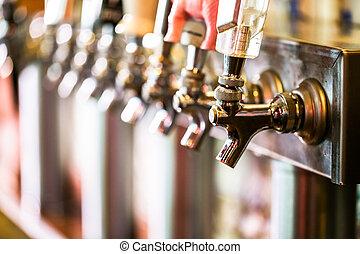 Draft beer - Close up of beer lines for draft beer in...