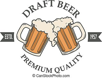 draft beer vector illustration. Logo, badge or label design ...
