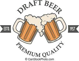 draft beer vector illustration. Logo, badge or label design template. Pab or bar logo.