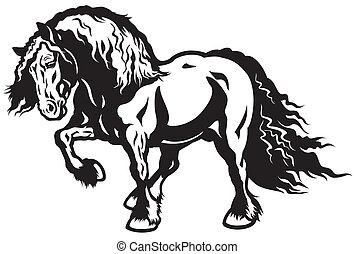 draft horse black and white illustration