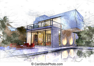Draft of white villa with pool