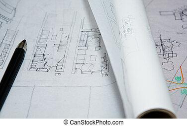 Draft plans - Pencil over interior planning document close ...