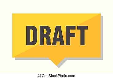 draft price tag - draft yellow square price tag