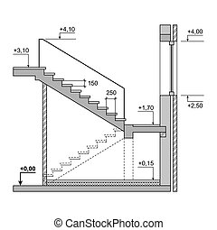Draft Project Stairs on White Background.