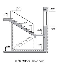 Draft Project Stairs on White Background. Vector
