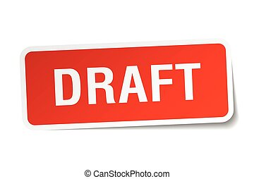 draft red square sticker isolated on white