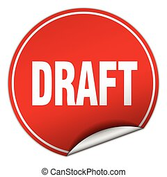 draft round red sticker isolated on white