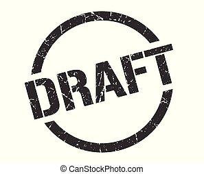 draft stamp - draft black round stamp