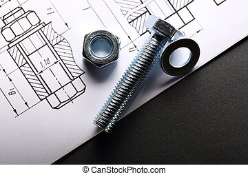 Drafting and screw bolt with nut - Drafting and screw bolt...