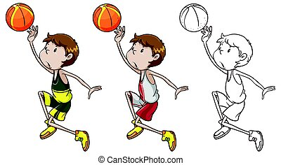 Drafting character for basketball player dunking