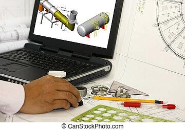 Drafting engineering works - An engineer drafting...