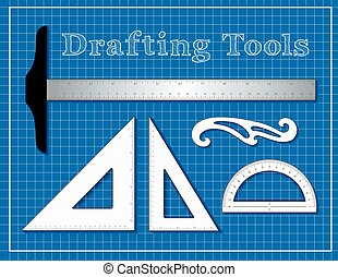 Drafting Tools for Architecture, Engineering, Science, Math, Blueprint Background