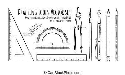 Drafting Tools. Vector Set. Isolated.Vector Illustration
