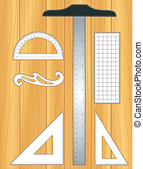 Drafting tools for architecture and engineering on drawing board: T-square; 45 degree triangle, 60 degree triangle, ruler, French Curve and protractor isolated on oak wood background. EPS8 compatible.