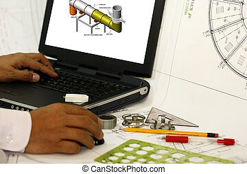 Drafting works in working area with engineer designing...