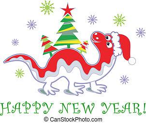dragão, ano, novo, 2012