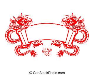 dragão, ano, scroll