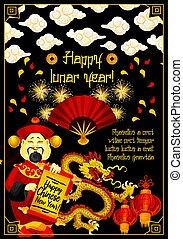 dragão chinês, ano, novo, bandeira, vermelho, lanterna