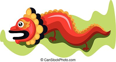 dragão chinês, vetorial, fundo, ano, novo, branca, desenho