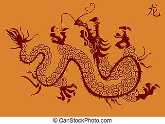 dragão chinês, vetorial, silueta