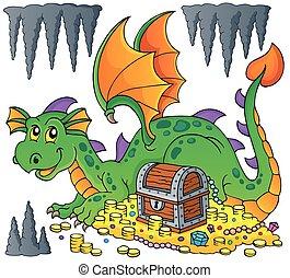 dragão, com, tesouro, tema, imagem, 1
