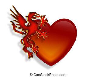 dragão, coração, gráfico, 3d