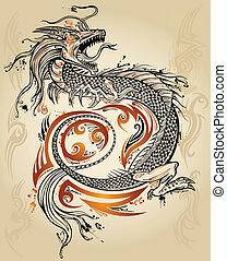 dragão, doodle, esboço, tatuagem