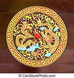 dragão dourado, esculpido, madeira, fundo
