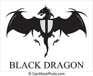 dragão, espalhar, pretas, asas