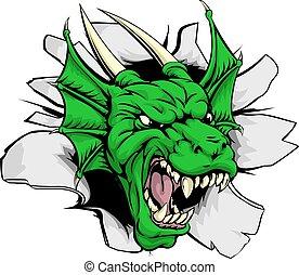 dragão, mascote, quebrando, parede