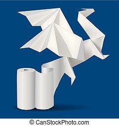 dragão, origami, paper., rool