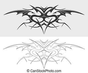 dragão, tatuagem, silueta