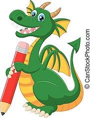 dragão, verde, segurando, pe, caricatura, vermelho