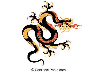 dragão, vetorial, -