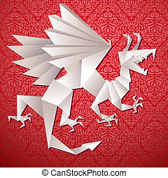 dragão, vetorial, ilustração, ano