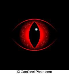 dragão, vetorial, vermelho, eye.