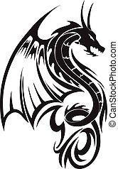 dragão, vindima, voando, tatuagem, engraving.