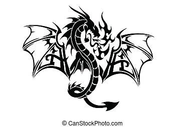 dragão, voando, arte