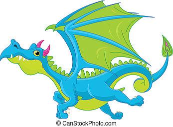 dragão, voando, caricatura