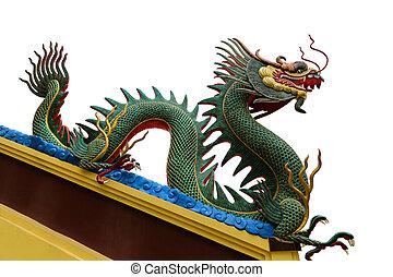 dragón, aislar, sculture