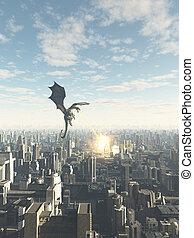 dragón, attcking, un, futuro, ciudad