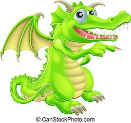 dragón, caricatura, señalar, mascota