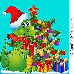 dragón, con, árbol abeto, y, regalo